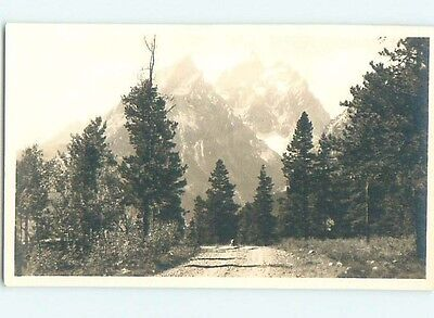 Old rppc ROAD TO GLACIER COVERED TETONS Grand Teton National Park WY HM2981