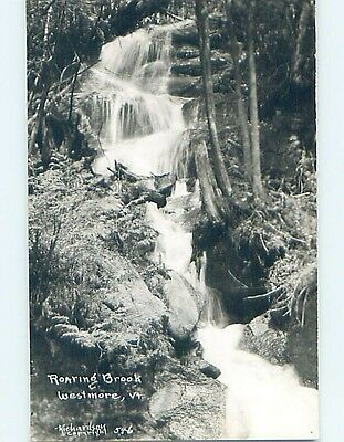 Pre-1950 rppc ROARING BROOK WATERFALL Westmore Vermont VT HM3484