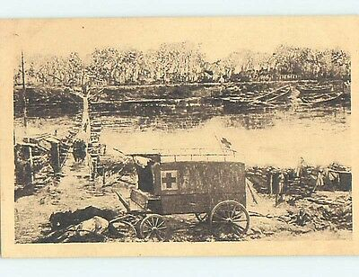 c1915 Military RED CROSS WWI WAGON Bruxelles - Brussels Belgium hJ6659