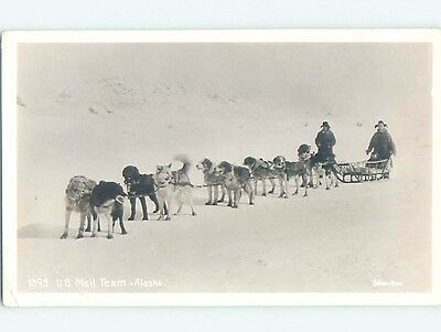 Pre-1940's rppc USPS SLED DOGS FOR US MAIL TEAM state of Alaska HM3882