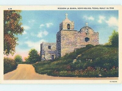 Unused Linen POSTCARD FROM Goliad Texas TX HM8994