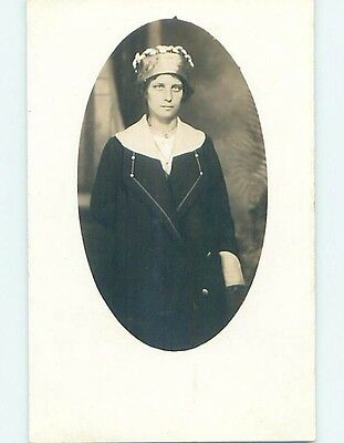 Pre-1918 rppc Fashion WOMAN WEARING STYLISH HAT Manitowoc Wisconsin WI HM3134