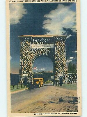 Linen NORTHERN ENTRANCE AT YELLOWSTONE NATIONAL PARK Gardiner Montana MT hk6280