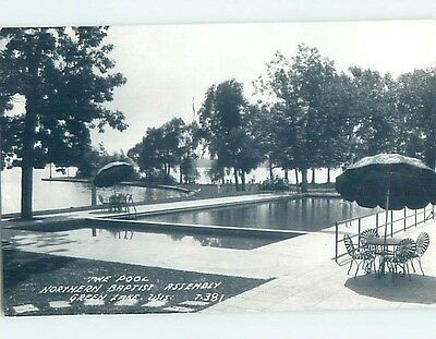 Pre-1950 rppc SWIMMING POOL AT BAPTIST ASSEMBLY Green Lake Wisconsin WI HM3701