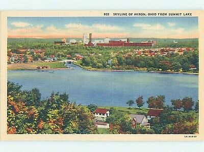 Unused Linen POSTCARD FROM Akron Ohio OH HM9419-12