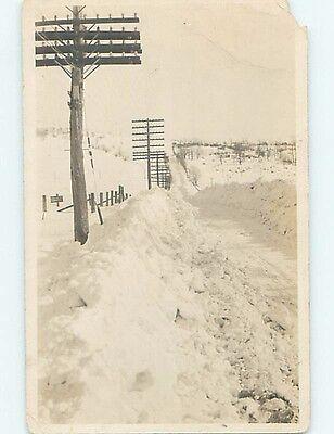 Chipped Pre-1929 rppc SNOWPLOWS & TELEPHONE POLES BY ROAD Marked VT HM3808