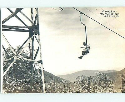 Old rppc Skiing SKI CHAIRLIFT AT MOUNT MANSFIELD Stowe Vermont VT HM4002