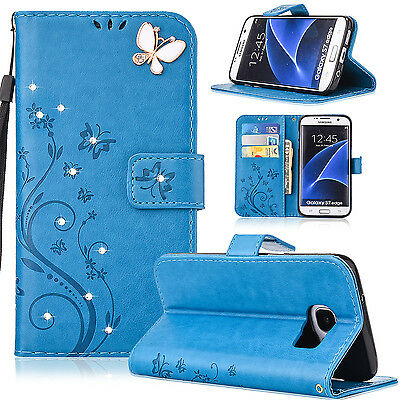 For Samsung Galaxy S8 Flip Magnetic Leather Card Slot Stand Butterfly Case Cover
