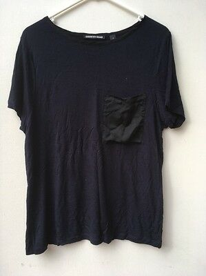 Country Road Women's Navy Blue T-shirt with Pocket. Size Small.