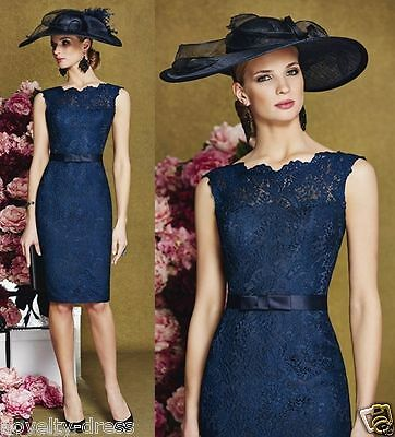 2017 Lace Knee Length Mother of the Bride Dresses Evening Prom Gown Custom Size