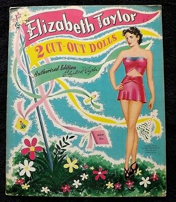RARE VINTAGE ORIGINAL 1949 ELIZABETH TAYLOR PAPER DOLLS UNCUT WHITMAN pin up mgm