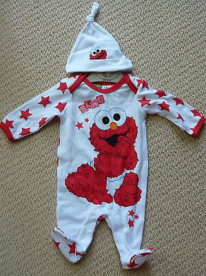 NWT Sesame Street Licensed Elmo Girls Boys Romper Coverall Hat Size 0
