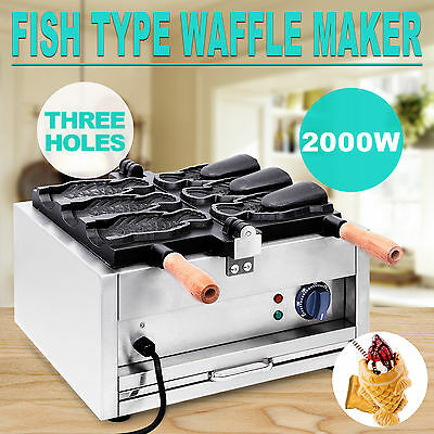 Taiyaki Maker Waffle Machine Electric Stainless Steel Fryer Open Mouth Nonstick