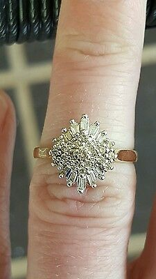 Genuine 100% 9Ct Solid Yellow Gold 0.50Ct Diamond Engagement/ Cluster Ring