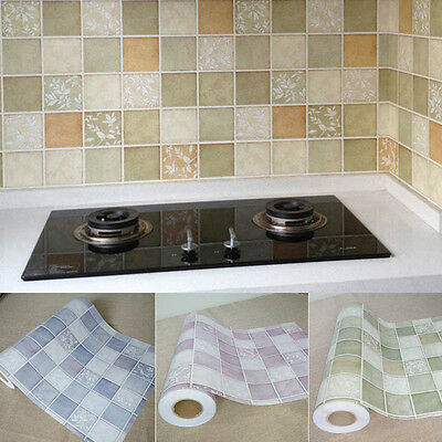 1M Tiles Stickers  PVC Waterproof Self-adhesive Wallpaper Kitchen Bathroom Home