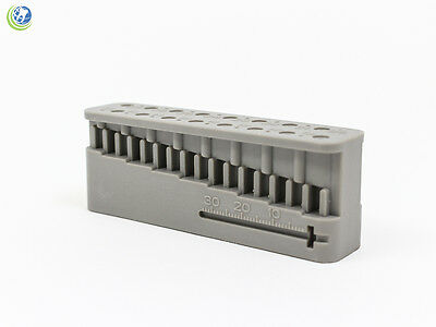 Dental Endodontic Block File & Bur Holder w/ Measuring Ruler Grey Autoclavable