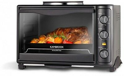 Kambrook 19L Hot Plate Top Mini Toaster Benchtop Oven Black KOT630