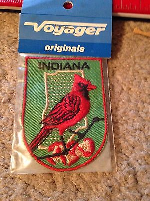 State of INDIANA Sew On Patch - New - with CARDINAL - Voyager Originals