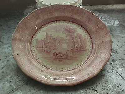 Antique W. Adams @ Son's Dinner Plate Florence Red Transferware 1819-1869