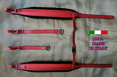 Accordion straps genuine leather and velvet padding 8CM 100% made in Italy