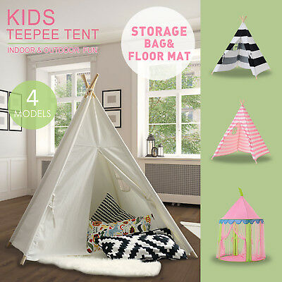 Cotton Canvas Kids Teepee Boys Girls Large Tent Indoor Garden Indian Bed Tipi