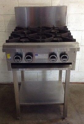 LUUS COMMERCIAL KITCHEN 4 BURNER STAINLESS Cook Top Stove Range 600mm Nat Gas
