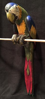 """Antique Colorful  Painted Wood Novelty  Parrot 28"""" Long"""