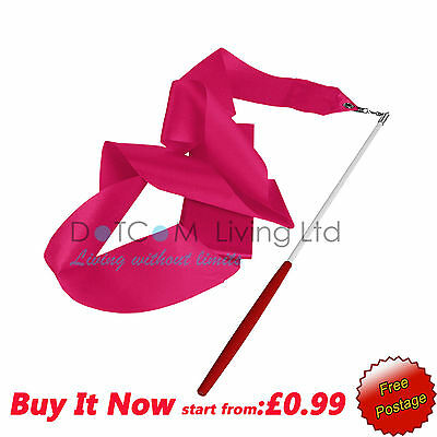 A-4M Dance Gym Ribbon Rhythmic Art Gymnastic Streamer Twirling Rod UK Hot Pink-1