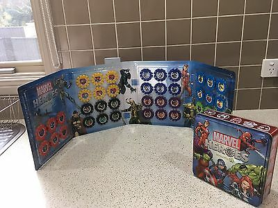 Woolworths Marvel Heroes Full Collector set, Tin, & Rare 6 12 18 24 30 36 42
