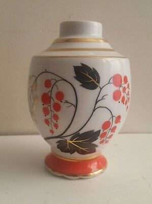 Vintage Russian USSR Porcelain Tea Caddy Red Currant Samovar Lomonosov vase pot