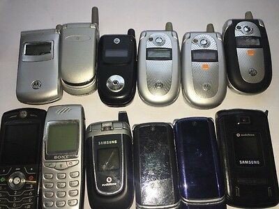 Vintage Style Old Mobile Phones Samsung-Motorola-sony Job Lot 12