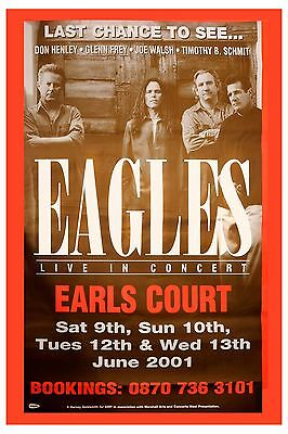 The Eagles at Earl's Court in London Concert Poster 2001  12x18