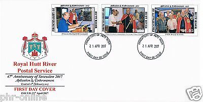 "Principality of Hutt River ""47th anniversary 2017"" FDC se-tenant set of 3 stamps"