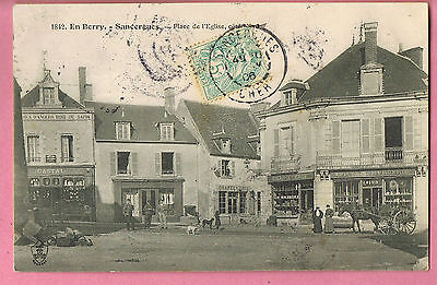 Cpa -  Sancergues  -  18 -  Place De L'eglise - Attelage