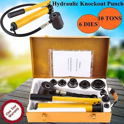 10 Ton 6 Dies Hydraulic Metal Hole Punch Driver Knockout Kit Industry 22-60mm