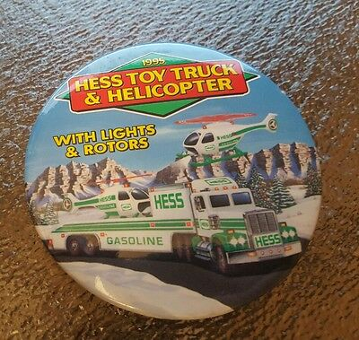 1995 Hess Toy Truck & Helicopter  Button.  New