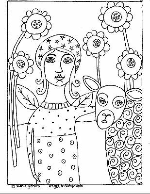 RUG HOOK Craft PAPER PATTERN Angel And Sheep FOLK ART ABSTRACT PRIMITIVE Karla G