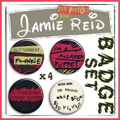 "SEX PISTOLS - JAMIE REID - MALCOLM MCLAREN - Set of Four 1"" Badge Button Pin"