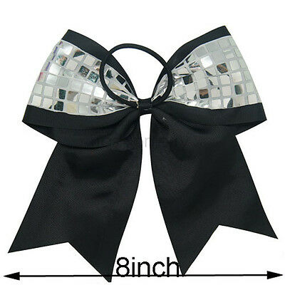 8Inch Big Boutique Cheerleading Hair Bows Bling Silver Sequin Bow Elastic Bands