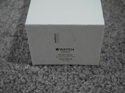 NEW SEALED Apple Watch Series 2 42mm Case Silver Aluminum WHITE SPRORT MNPJ2LL/A