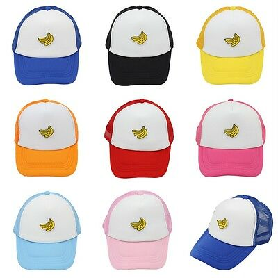 Kids Boys Baseball Cap Trucker Hat Banana Pattern Children Mesh Caps Adjustable