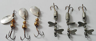 6 ancien leurres cuillers de pêche MEPPS  spinner lure vintage fishing neuf (new