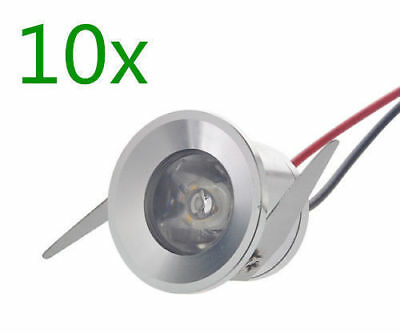 10x 1W LED Cabinet Recessed Downlight Indoor Spot Light Ceiling Lamp Bulb White