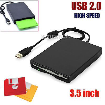 "3.5"" FDD USB Hard External Floppy Disk Drive 1.44MB For PC Laptop Win Mac Black"