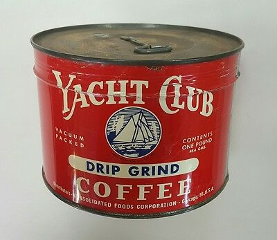 vntg YACHT CLUB Key-Wind Coffee can NOS 1Lb USA twist tin sealed unopen Chicago