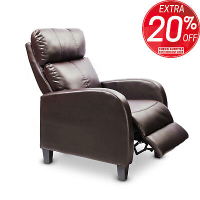 Sofa Recliner Chair Lounge Armchair Luxury Couch Padded PU Leather - Brown