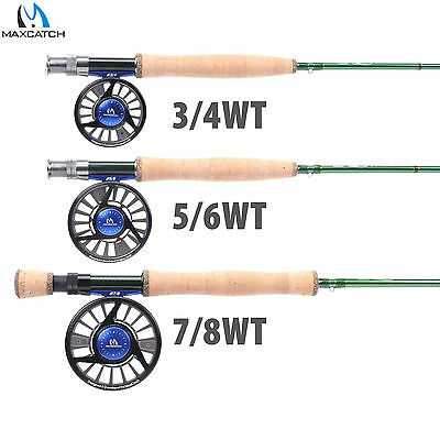 Fly Fishing Rod Outfit Premier 3/4/5/6/7/8WT 4SEC IM10 Rod with Case & Fly Reel