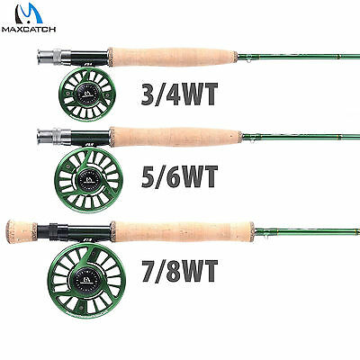 Fly Fishing Rod Combo Premier 3/4/5/6/7/8WT 4SEC IM10 Rod with Case & Fly Reel