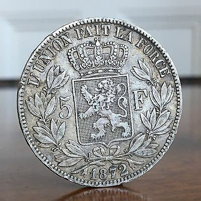 Belgium. Leopold II, Five Francs, 1872. Crown Size Silver Coin.