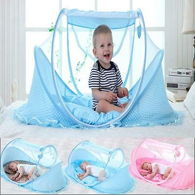 Baby Infant Portable Foldable Travel Bed Crib Canopy Mosquito Net Tent&Mattress